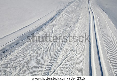 Groomed trail for cross country nordic skiing