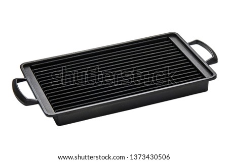 Grooved grill pan with handles, Rectangle cast iron pan isolated on white background with clipping path, Side view