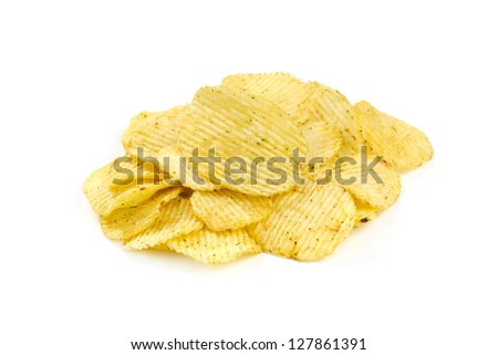 Grooved potato chips isolated on white background
