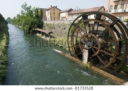Groppello d'Adda (Milan, Lombardy, Italy), ancient  watermill in a sunny summer morning