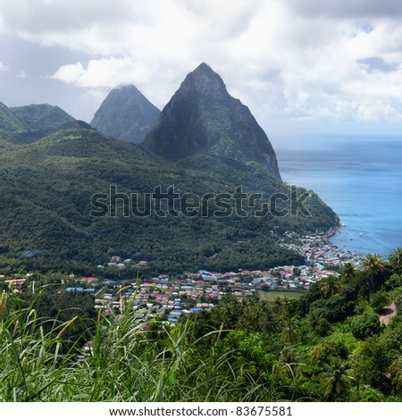 Gros and Petit Pitons near Soufriere in St. Lucia