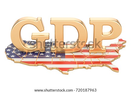 gross domestic product GDP of USA concept, 3D rendering isolated on white background