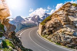 Grossglockner High Alpine Road, German: Grossglockner-Hochalpenstrasse. High mountain pass road in Austrian Alps, Austria.
