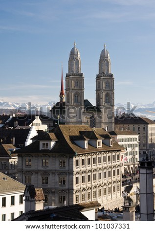 Grossmuenster church and Zurich city center