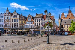 Grote Markt in Mechelen, Belgium. Mechelen is a city and municipality in the province of Antwerp, Flanders, Belgium. Cityscape of Mechelen