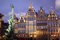 Grote Markt square in Antwerpen or Amtwerp in Belgium at night