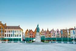 Grote Markt square in medieval city in morning, Brugge, Belgium