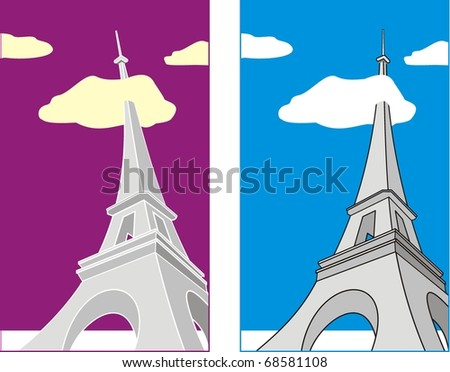 Eiffel Tower Cartoon Picture on Photo   Grotesque Cartoon Illustration Eiffel Tower At Evening And Day