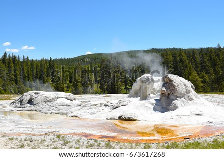 Grotto Geyser is a fountain-type geyser located in the Upper Geyser Basin in Yellowstone National Park. The odd shape comes from sinter accumulating over dead tree stumps as the geyser erupted