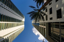 Ground angle photo looking directly up towards highrise towers in the city