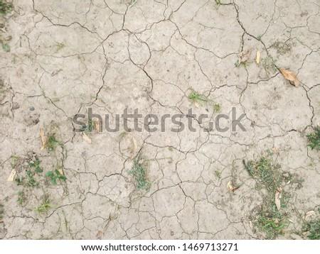 Ground background. Dry ground with cracks. Green grass.  #1469713271