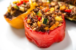 Ground beef and vegetable stuffed peppers