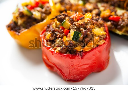 Ground beef and vegetable stuffed peppers  Stock photo ©