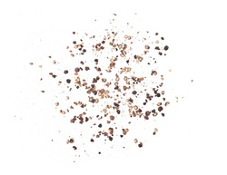Ground black pepper isolated on a white background .Top view