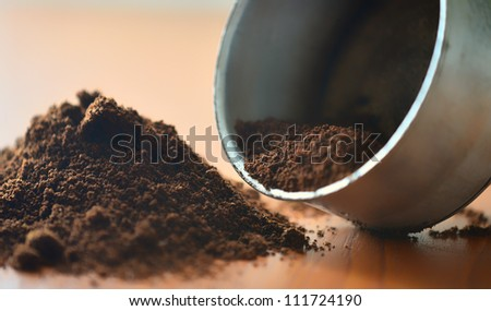 Ground coffee close up image