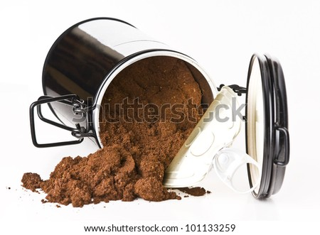stock photo : Ground coffee in a can