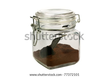 Ground coffee in a sealed jar isolated on white background