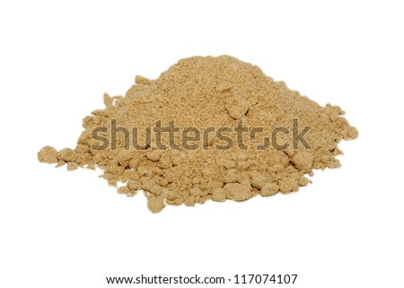 Ground ginger, isolated on a white background