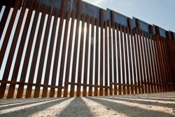 Ground level view of Border Fence/Wall along the US/Mexico border