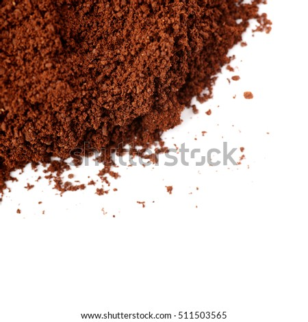 Ground milled black coffee powder isolated over white background #511503565