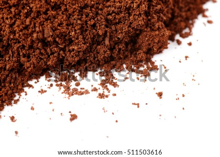 Ground milled black coffee powder isolated over white background #511503616
