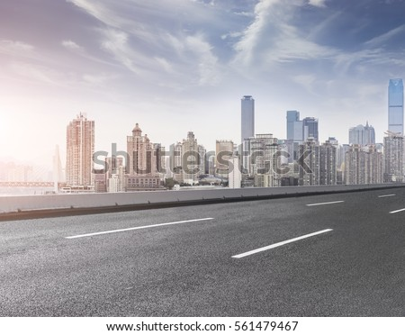Ground roads and the city skyline of Chongqing