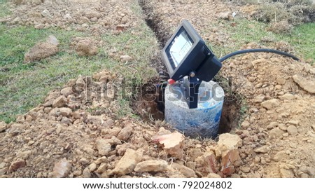 ground spotlights installation or spotlights image use for technology background #792024802