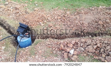 ground spotlights installation or spotlights image use for technology background #792024847