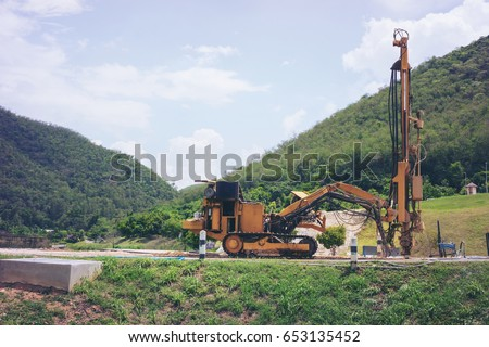 Ground water hole drilling machine. selective focus