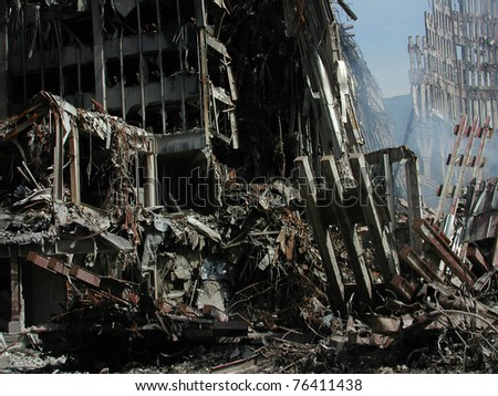 Ground Zero Ruins World Trade Center on 9-18-2001