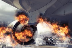 Grounded plane in the airport experiencing a catastrophic failure event caused by burning engine, fire and smoke