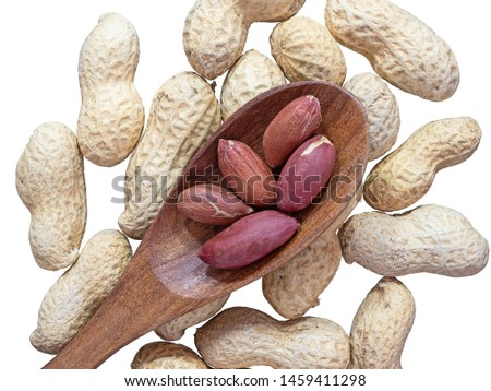 Groundnut or peanut in wooden spoon on groundnut isolated on white background.Scientific name is Arachis hypogaea.view top.