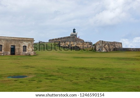grounds and fortress structures of historic el morro in old san juan puerto rico #1246590154
