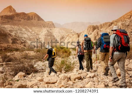 Group backpackers people traveling descending desert trail stone cliffs, hiking mountains Negev #1208274391
