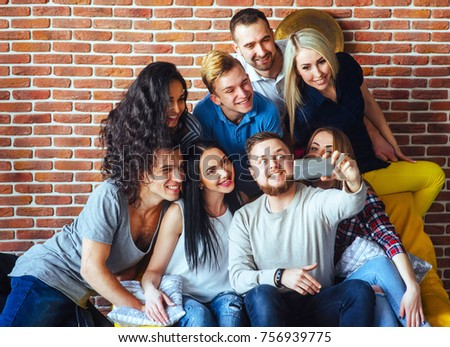Group beautiful young people doing selfie in a cafe, best friends girls and boys together having fun, posing emotional lifestyle people concept.