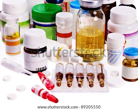 Group blister pack of pills and syringe. Medicament  isolated.