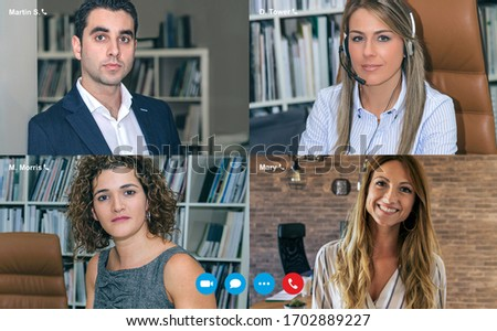 Group business video call screen with four people Stockfoto ©
