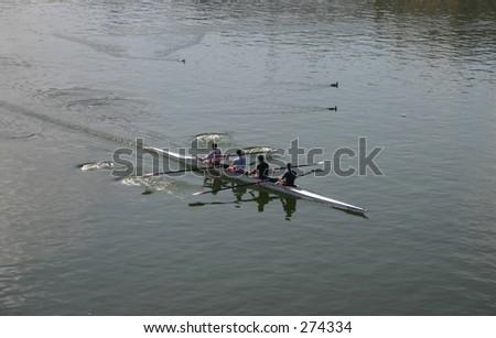 Group Canoe - stock photo