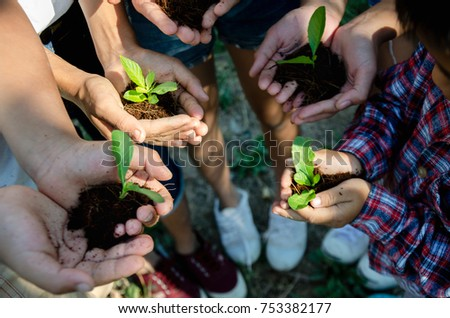 Group children planting together. growing concept #753382177