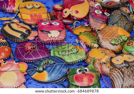 Group colorful Wallet of Leather skin