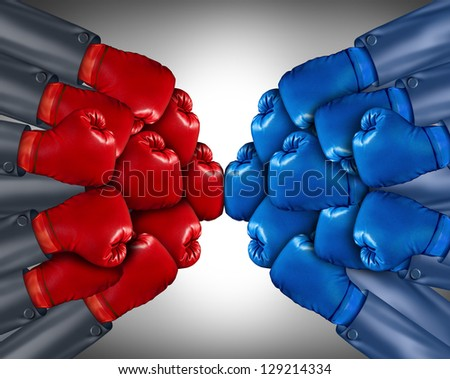 Group competition ready for a business fight with a network of corporate people wearing red and blue boxing gloves competing together in the open market using strategy and planning to win.