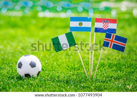 Group D - National Flags of Argentina, Iceland, Croatia, Nigeria. Flags on green grass on football stadium #1077493904