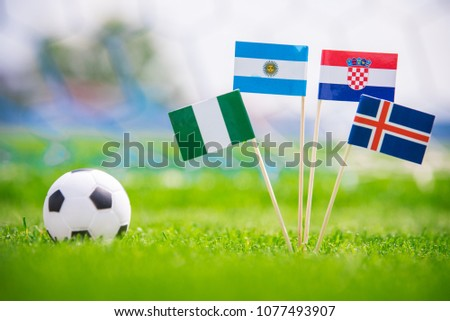Group D - National Flags of Argentina, Iceland, Croatia, Nigeria. Flags on green grass on football stadium #1077493907