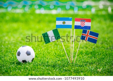 Group D -National Flags of Argentina, Iceland, Croatia, Nigeria. Flags on green grass on football stadium #1077493910