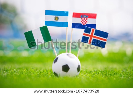 Group D - National Flags of Argentina, Iceland, Croatia, Nigeria. Flags on green grass on football stadium #1077493928