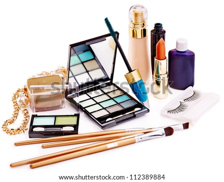 Group decorative cosmetics for makeup. Still life. - stock photo