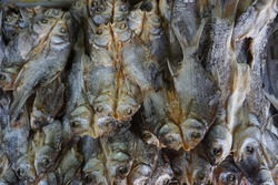 Group Dried fish used in Asian cuisine at Asian Market