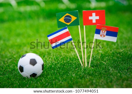 Group E - National Flags of Brazil, Switzerland, Costa Rica, Serbia. Flags on green grass on football stadium #1077494051