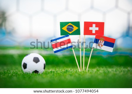 Group E -National Flags of Brazil, Switzerland, Costa Rica, Serbia. Flags on green grass on football stadium #1077494054