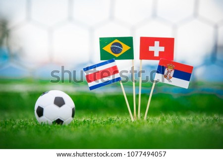 Group E - National Flags of Brazil, Switzerland, Costa Rica, Serbia. Flags on green grass on football stadium #1077494057